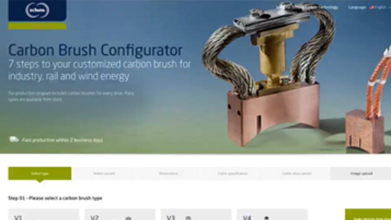 The Schunk Carbon Brush Configurator - 7 steps to your customized carbon brushes